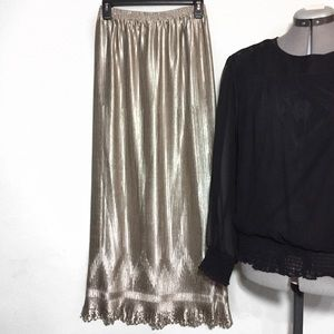 Vintage Gold Metallic Small Pleats Maxi Skirt S